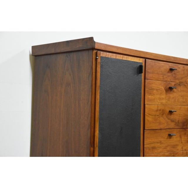 Walnut and Black Vinyl Armoire Dresser - Image 6 of 11