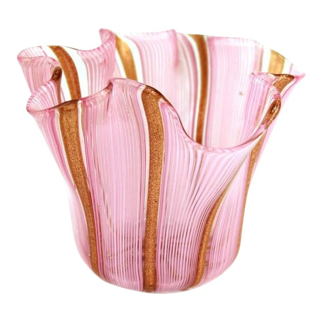 Murano Glass Handkerchief Vase in Pink & Gold For Sale