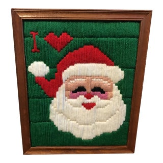 Vintage Framed Santa Yarn Art