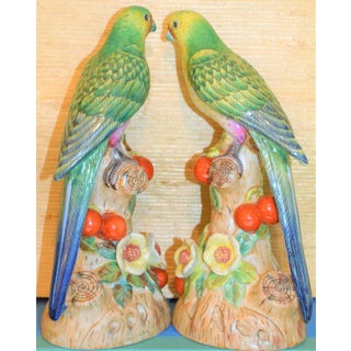 Green Majolica Parakeets Figurines - a Pair Preview