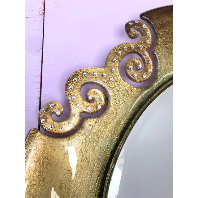 Art Nouveau Italian Gold Glass Mirror With Swarovski Strass Crystals For Sale - Image 3 of 8