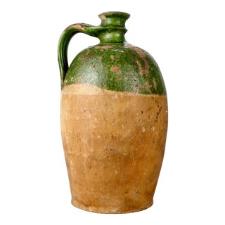 Large French Terra Cotta and Green Glazed Jug For Sale