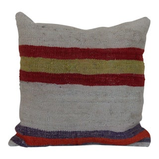 Striped Vintage Kilim Rug Pillow For Sale