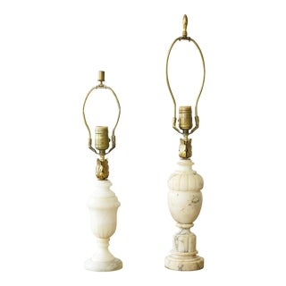 1920s Alabaster Lamps With Brass Acanthus Details - Set of 2 For Sale