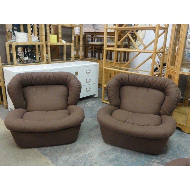 Newly Upholstered Brown Modern Lounge Chairs - a Pair - Image 4 of 5
