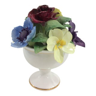 English Bone China Floral Urn For Sale