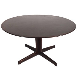 Danish Rosewood and Black Laminate Pedestal Dining Table For Sale