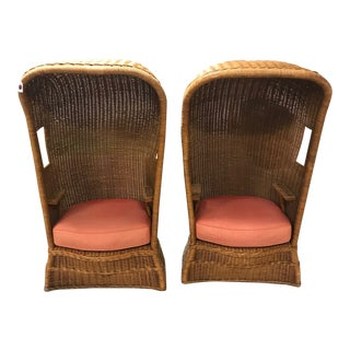Woven Reed Cabana Chairs - a Pair