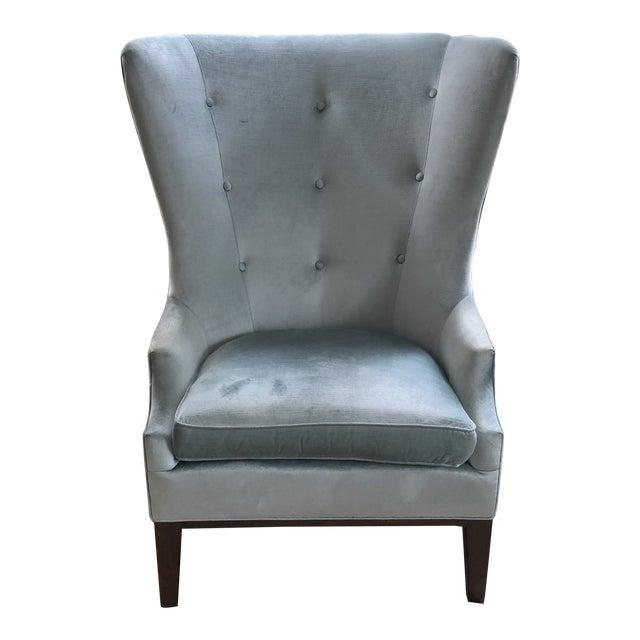 Modern Charles Stewart Blue Velvet Wingback Chair For Sale