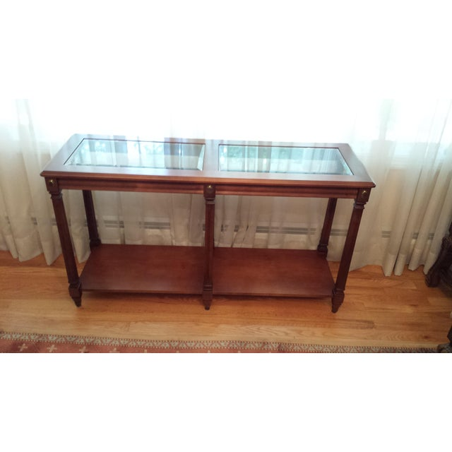 Vintage Solid Fruitwood and Beveled Glass Console Table - Image 10 of 11