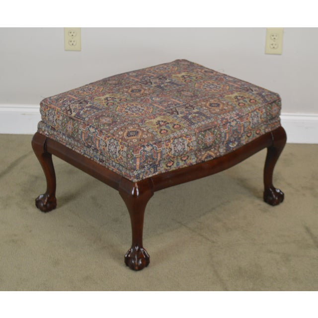 High Quality American Made Solid Wood Frame Custom Upholstered Ottoman by Fairington