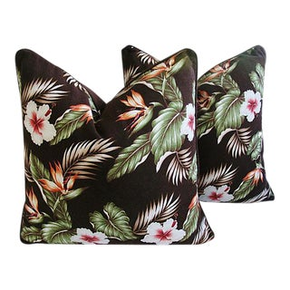 """Tropical Bird of Paradise & Hibiscus Feather/Down Pillows 24"""" Square - a Pair"""
