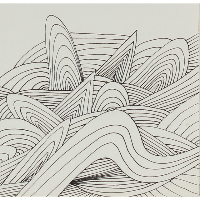 Mid-Century Abstract Ink Drawing - Image 2 of 2