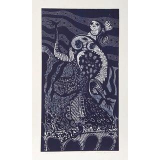 "Manuel Izqueirdo, ""Spanish Dancer (Blue),"" Woodcut For Sale"