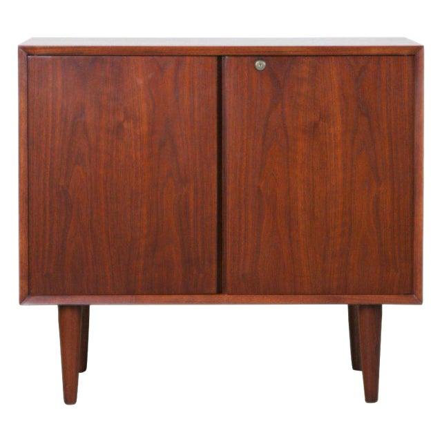 Small Mid-Century Modern Lockable Walnut Cabinet or Mini-Bar or Dry Bar For Sale