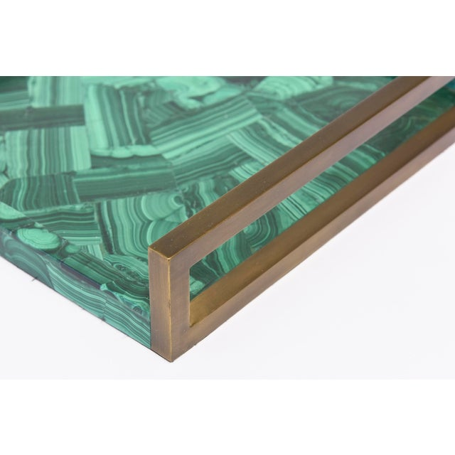 1990s R&Y Augousti Faux Malachite Compostion Wood and Brass Tray For Sale - Image 5 of 10