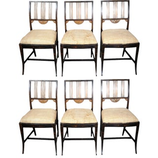 19th Century Upholstered and Decorated Chairs - Set of 6 For Sale