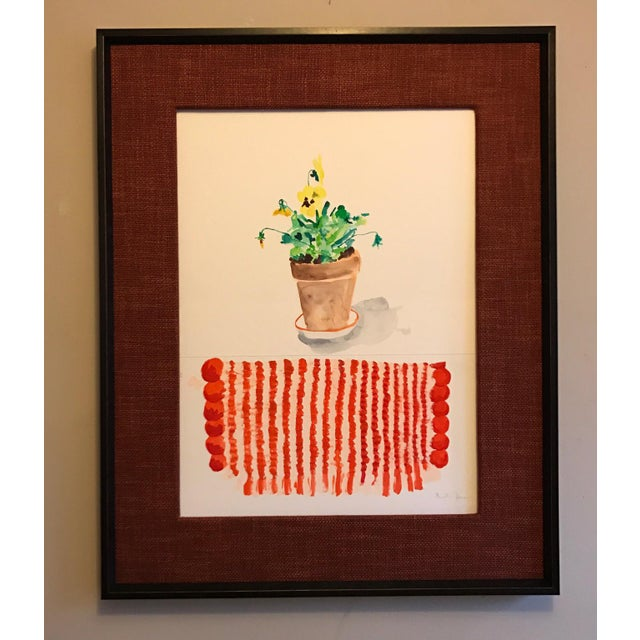 An original gouache painting by Meriellen Johnson of potted pansies beautifully matted and framed. This large painting...