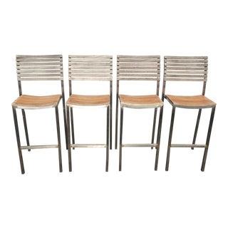 Vintage Industrial Teak Wood Slats and Metal Barstools - Set of 4 For Sale