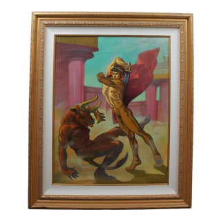 """Mid 20th Century Paul Cooreman """"Theseus Slaying Minotaur"""" Signed Oil Painting on Canvas Nude 46"""" For Sale"""