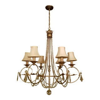 Currey & Company French Gold & Crystal Chandelier