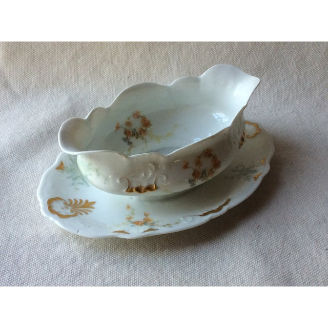 Turquoise French Heirloom Porcelain Gravy Boat and Platters Serving Pieces - 4 Pc. Set For Sale - Image 8 of 13
