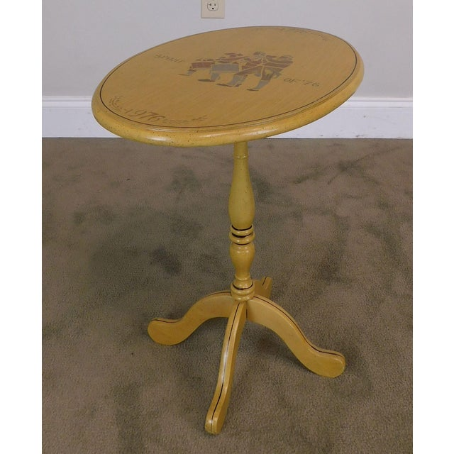 High Quality American Made Solid Wood Yellow Painted Oval Tilt Top Side Table in the Style of Hitchcock - Limited Edition...