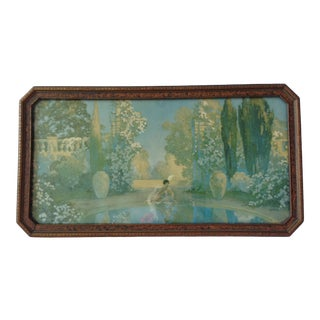 Early 20th Century Art Deco Garden Scene of a Young Woman Sitting by a Reflecting Pool Framed Print For Sale