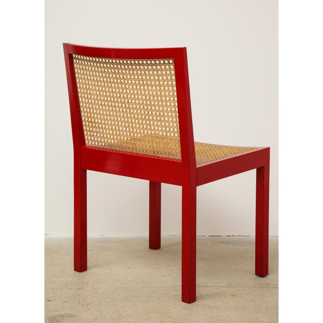 "Set of Four Red Lacquered ""Bankshuhl"" Chairs by Willy Guhl for Stendig For Sale In New York - Image 6 of 13"