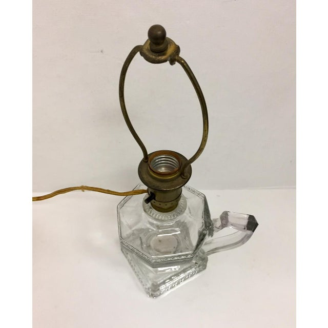Greek Key Pressed Glass Electrified Oil Lamp For Sale - Image 4 of 9