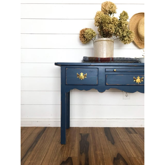 Modern Farmhouse Navy Desk/Console Table For Sale - Image 4 of 6
