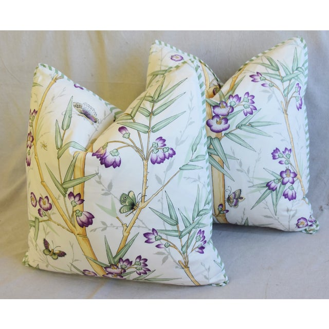"White Clarence House Bamboo Fabric Feather/Down Pillows 21"" Square - Pair For Sale - Image 8 of 13"