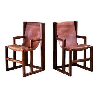 Unique and signed William Richardson Pair of Studio Crafted Chairs, USA, 1970s For Sale