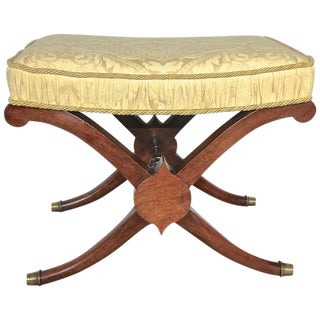 French Directoire Neoclassic Saber Leg X Base Bench For Sale