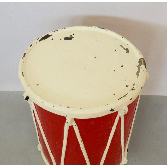 Americana Circus Fiberglass Drum Pedestal Plant Stand For Sale - Image 3 of 6
