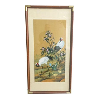 Artwork With Chinoiserie Style Cranes on Silk Paper Hand Painted For Sale