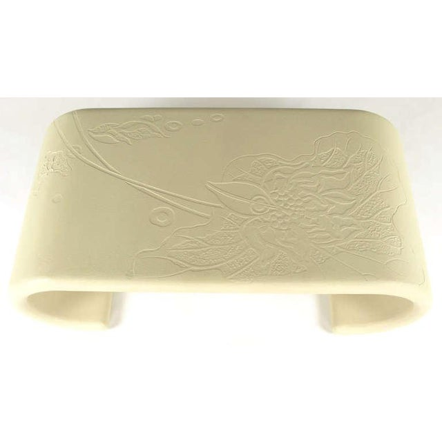 Bone Lacquer over Resin Scrolled Leg Coffee Table with Embossed Top For Sale - Image 4 of 9