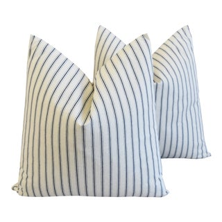 "Country Blue Striped French Ticking Feather/Down Pillows 24"" Square - Pair For Sale"