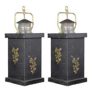 Pair of Tole Barge Lanterns For Sale