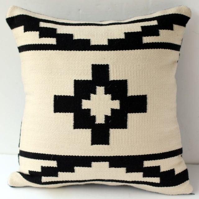 Reversible Peruvian Black & White Wool Pillow Case - Image 3 of 5