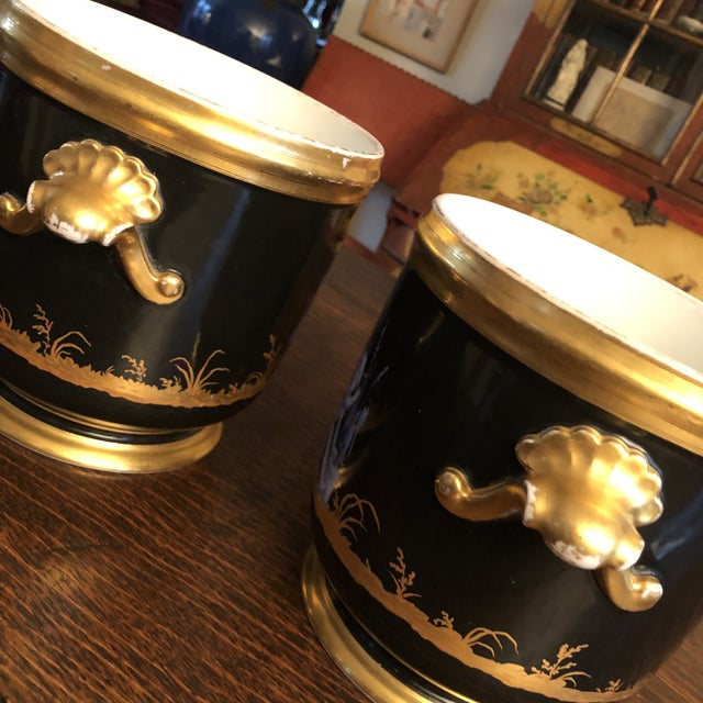 Antique French Gilt Soft Paste Two Handled Seaux a Bouteille or Wine Buckets - a Pair For Sale In Minneapolis - Image 6 of 13