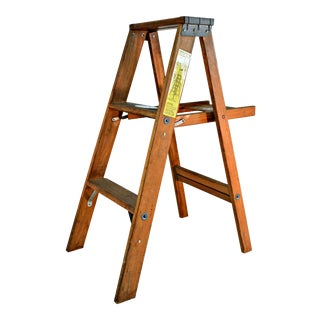 Vintage Wooden Ladder with Tool Shelf For Sale
