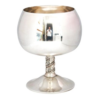 1960s Spanish Roma S.L. Silver Punch/Sangria Bowl in Shape of Brandy Goblet With Grape Pattern Stem For Sale