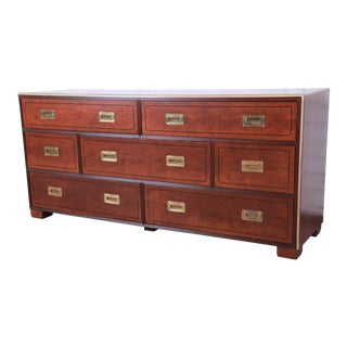Baker Furniture Hollywood Regency Campaign Style Walnut and Brass Long Dresser, Newly Refinished For Sale