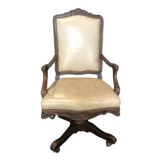 Swivel French Louis XV Style Leather Desk Chair For Sale