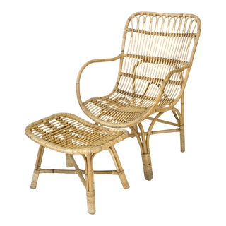 Vintage Rattan Bamboo Chair and Ottoman For Sale