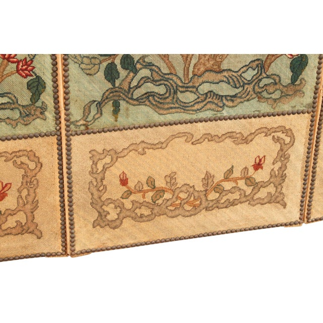 Mid 19th Century 1860's English Silk Needlepoint Screen in the Manner of William Morris For Sale - Image 5 of 6