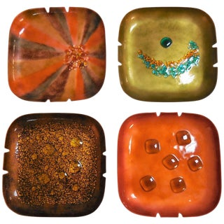 Abstract Bovano Enamel Bowls or Ashtrays, Collection of Four For Sale