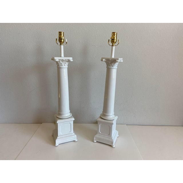 Campaign 1950s Italian Porcelain Column Lamps - a Pair For Sale - Image 3 of 10