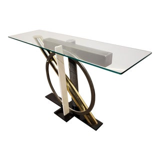 1980s Geometric Metal and Glass Memphis Style Console Table by Kaizo Oto for Dia For Sale